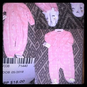 NWT Carter's  3M micro-fleece, Kitty-footed onesie